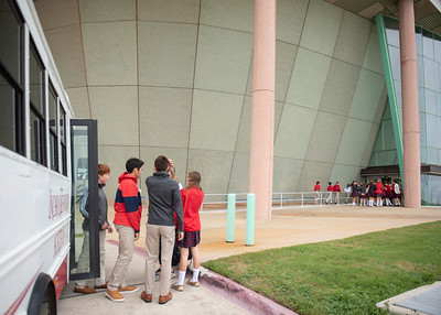 Incarnate Word Academy Students exit their bus and make their way into the Performing Arts Center to attend the Fall 2018 Distinguished Speaker Series Student Forum.