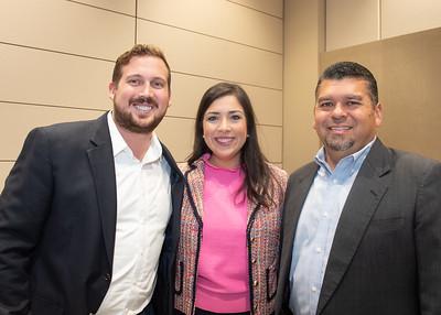 Cade Mason (left), Alyssa Barrera, and Randy Maldonado during the Fall 2018 Distinguished Speaker Series VIP Reception.