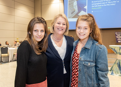 Madison McCauley (left), President Quintanilla, and Logan Quintanilla during the Fall 2018 Distinguished Speaker Series VIP Reception.