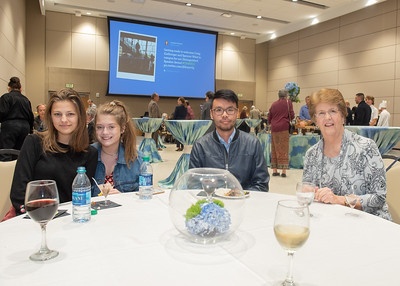 Madison McCauley (left), Logan Quintanilla, Newman Wong, and Barbra Miller during the Fall 2018 Distinguished Speaker Series VIP Reception.