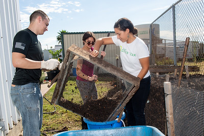 Students Mark Rolph (left), Christina Ballouz, and Melissa Zamora sift through compost at the Islander Green Garden.