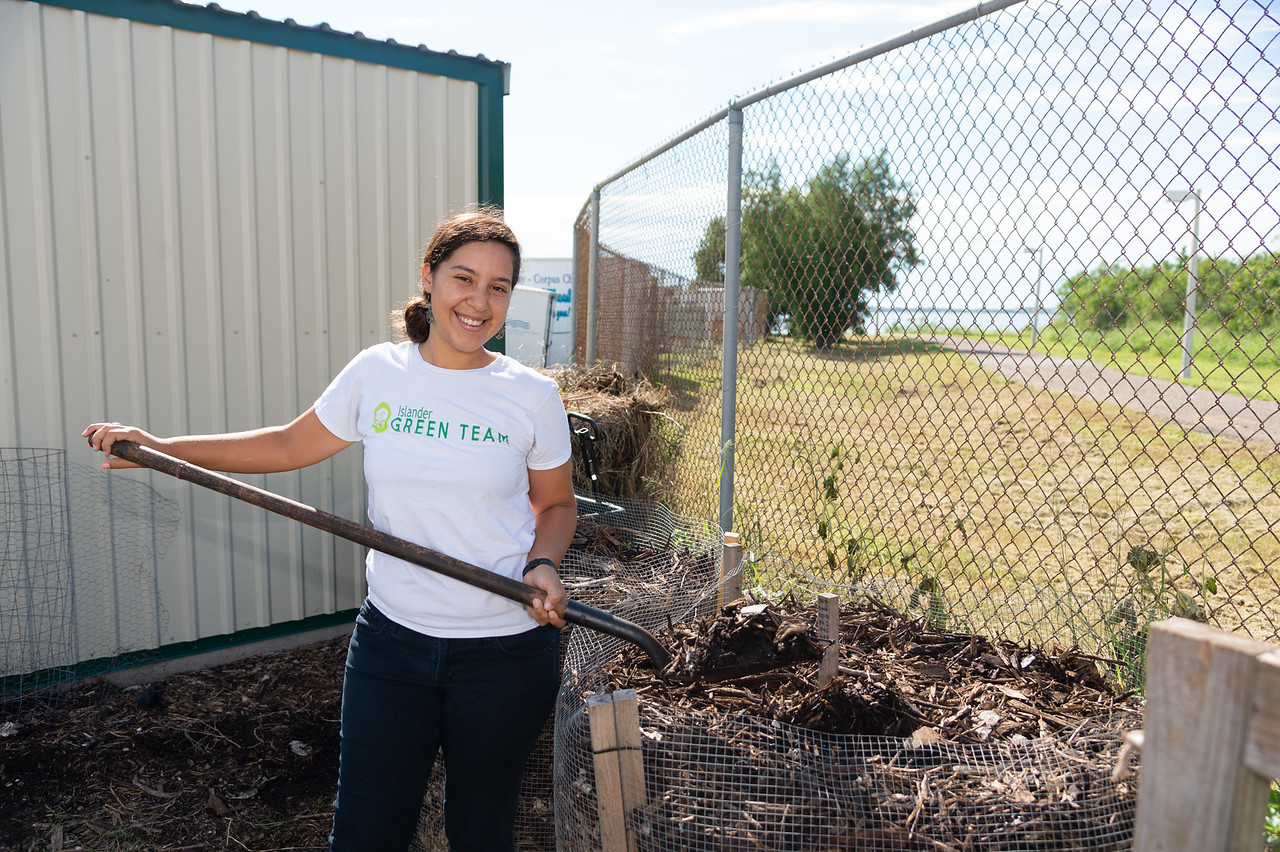 Melissa Zamora volunteers at the Islander Green Garden.