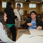 West Oso High School students at the Spanish event at the library.