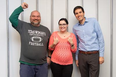 David Smith (left), Yuliana Zaikman, and Daniel Maitland are the winners of the Escape Room.