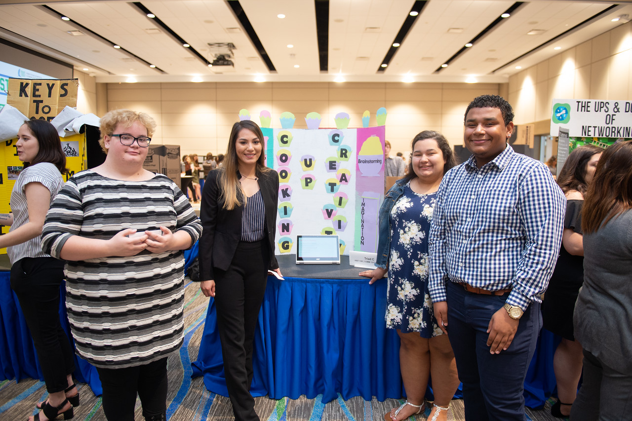 Kyleen Brown (left), Kaitlin Cantu, Karina Mozingo, and Patrick Ross at the first year symposium in the Anchor Ballroom.