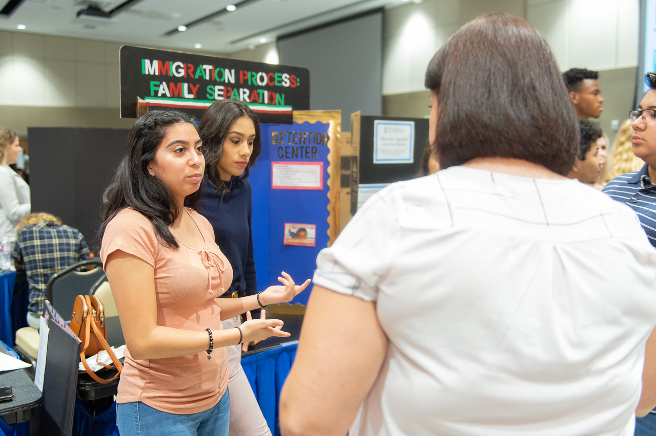 Clarysa Chavez (left) at the first year symposium in the Anchor Ballroom.