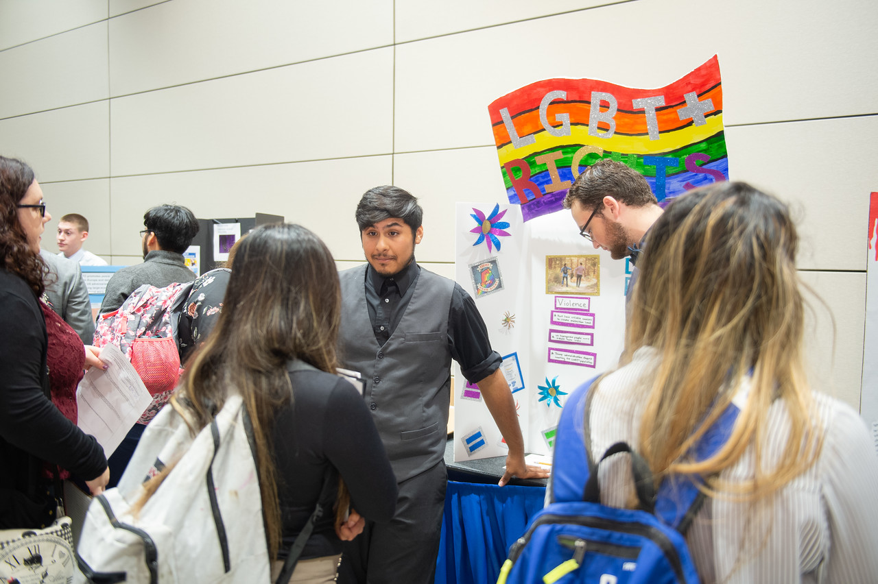Christopher Treviño (left) and Tyler Lewis at the first year symposium in the Anchor Ballroom.