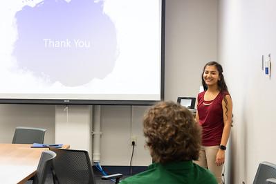 Krishna Patel giving her presentation at the Honors Symposium.