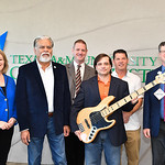 Dr. Kelly Quintanilla, president & CEO of TAMU-CC (left), Dr. Nick Adame, Brian Shelton, Dr. Brian Thacker, Mike Moore, and Dean of CLA Mark Hartlaub of Texas A&M University-Corpus Christi's ...