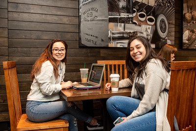 Students Kaitlin Huerta  (left), and Brianna Hernandez plan out their Spring 2019 Semester.
