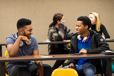 Salomon Jones and Mitchell Harrington during the first day of the Spring 2019 Semester.
