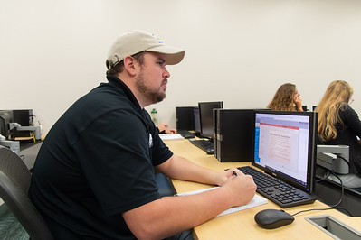 Rodney Hager is working on his Biomechanics work during the first week of school.