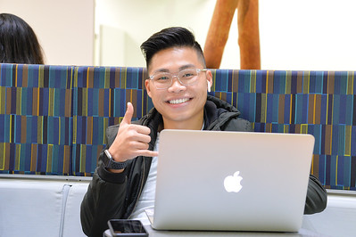 Tuan Ha is studying at the Mary and Jeff Bell Library.