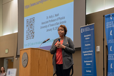 Dr. Kelly Nash gives opening statements at the Women in Physics Conference.