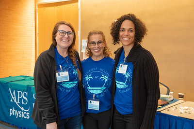 Kaylee Sparkman, Alessandra Garcia, and Larissa Frequete volunteer for the Women in Physics Conference.
