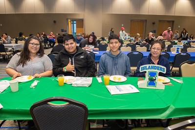 Chrstina Guerrero, Hilario Rodriguez, Carlos Briones. and Berta Henson enjoy their breakfast in the Anchor Ballroom.