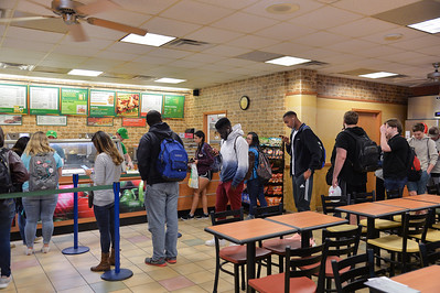 Students line up at the Subway during lunch hour.
