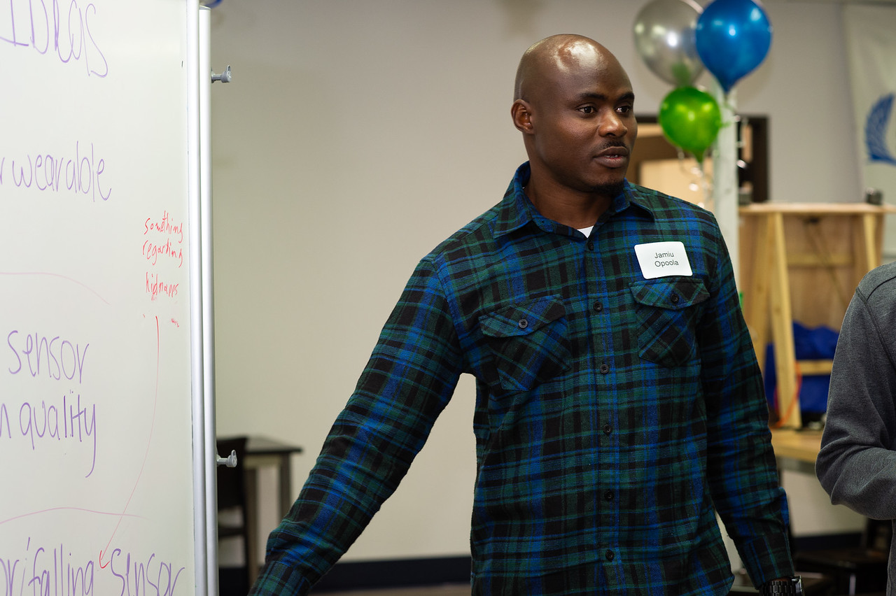 Jamiu Opoola pitches his group's idea.