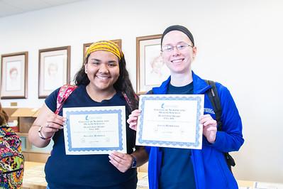 Brianda Ramirez(left) and Jayna Hamilton received their Dean's List Award at Island Hall.