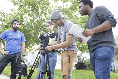 1st assistant Camera operator, AJ Guerrero, with Gary, Rebecca, and Carlos
