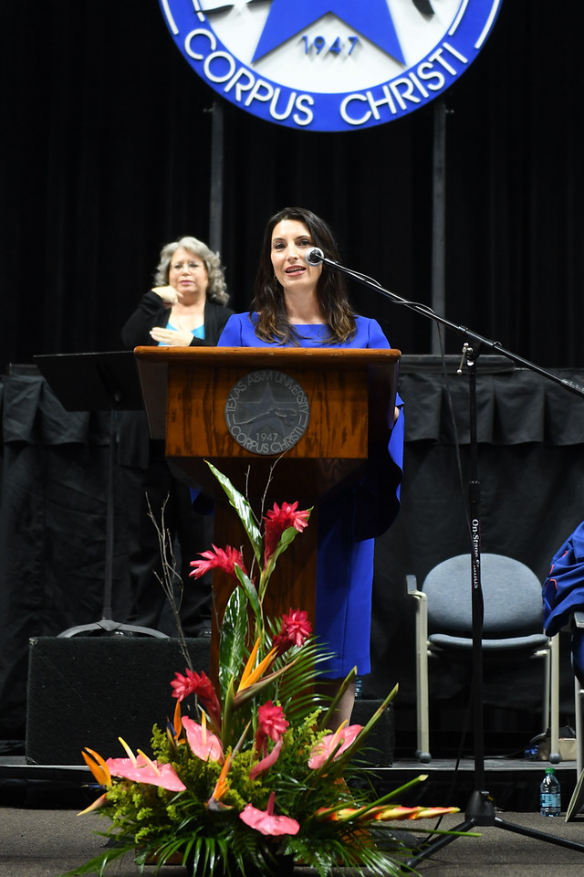 Barbara Canales, Nueces County Judge, gives the commencement address at the Texas A&M University-Corpus Christi spring 2019 commencement ceremony.