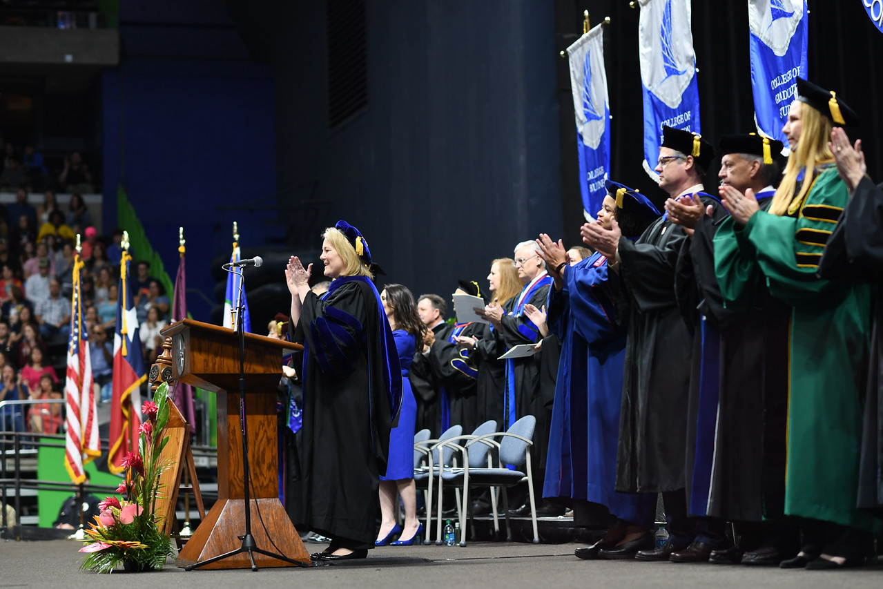 Dr. Kelly Quintanilla, President and CEO of Texas A&M University-Corpus Christi, welcomes Islander graduates during the Texas A&M University-Corpus Christi spring 2019 commencement ceremonie ...