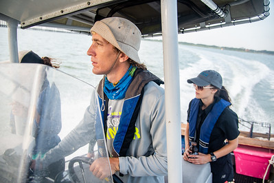 HRI Senior Research Associate, Terry Palmer navigates through Copano Bay to the oyster collection site in Aransas Bay.