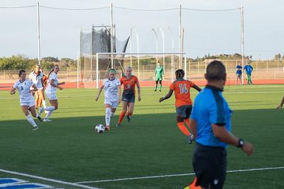 Islander women's soccer makes a play against UTRGV.