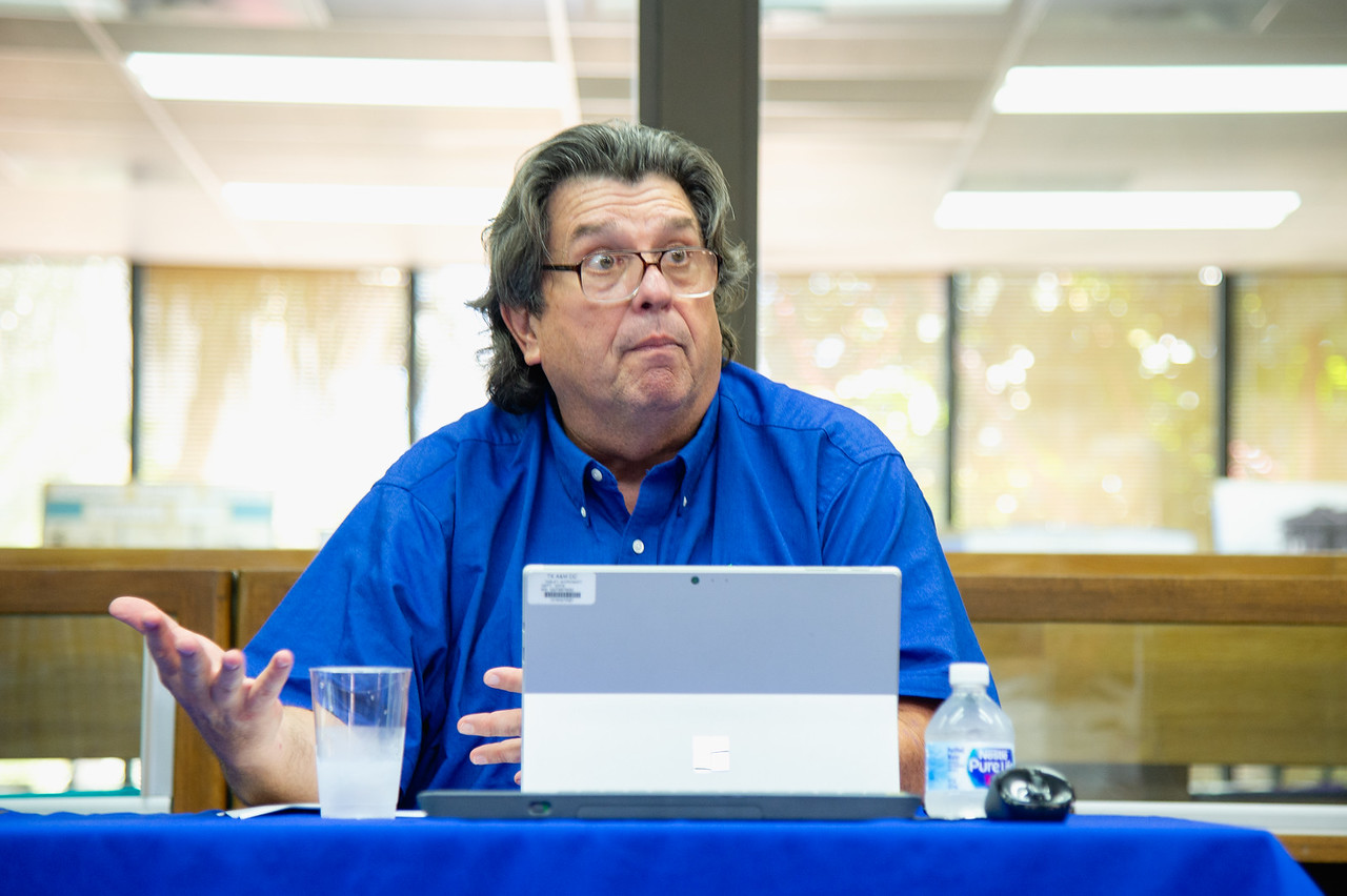"""Dr. Dan Jorgensen answers audience questions during the """"100 Years After The Storm"""" forum."""