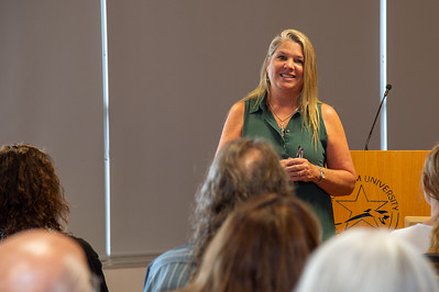 Dr. Michelle H. Kells, a professor from the University of New Mexico, gives a presention on the legacy of Hector P. Garcia. Wedensday, September 18, 2019 in the Bayview Room.