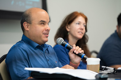 Alonzo Cuellar provides information about assisting students with a visual disability. Tuesday September 24, 2019 during the Coffee and Conversations with Disabilities Services Workshop in the University Center Jetty Room.