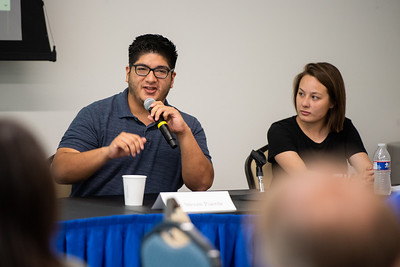 Steven Puente shares his experience as a student with a visual disability. Tuesday September 24, 2019 during the Coffee and Conversations with Disabilities Services Workshop in the University Center Jetty Room.