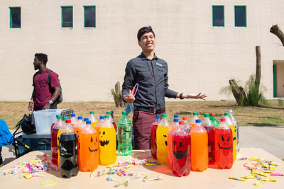 Senior Jan Barajas, a political science major, plays ring toss.