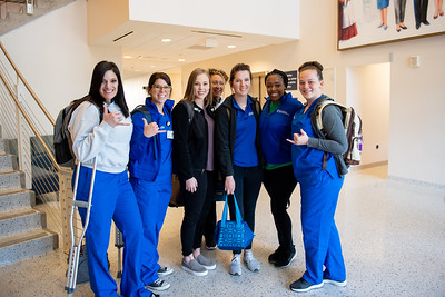 Nursing students catch up after their first class for their Accelerated BSN Program for the Spring 2020 semester.