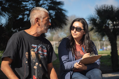 Perry Reyes (left) is interviewed by TAMU-CC's College of LIberal Arts student Ruth Younger.