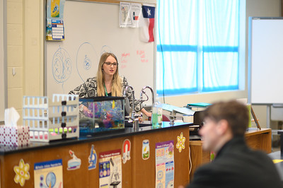 Aquatic Science teacher Shelby Szteiter welcomes her students.