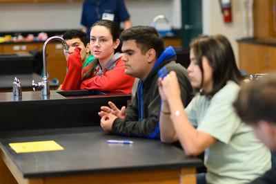 Riviera High School student Raven Girgan asks a question.