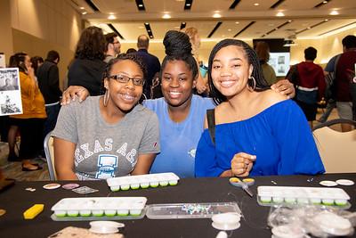 Pre Nursing students Makyia Davis (left(, Jeannia Washington, and Bio Med Major Jada Stinger.