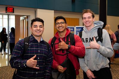 Michael Vasquez (Junior BioMedical Sciences), Hayden Meckes (Sophomore, Criminal Justice), Adrian Arranaga (Junior, Criminal Justice)
