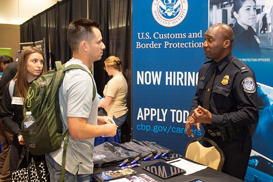 Officer Hyatt of US Customs and Border Protection informs Islanders about his career.