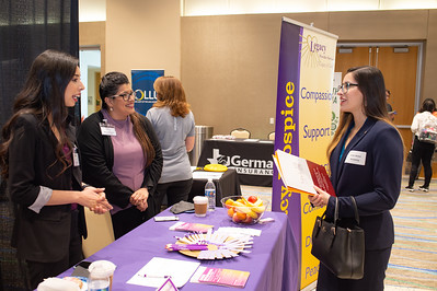 Marketing major Jaclyn Blohm speaks with recruiters from Legacy Provider Services