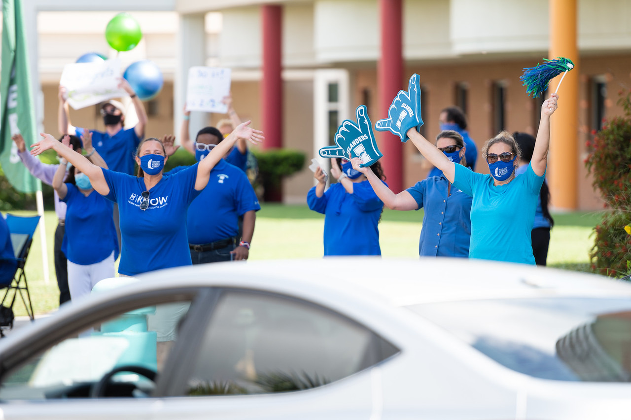 Corpus Christi, Texas - Spring 2020 Graduates pick up their diploma during the Texas A&M University-Corpus Christi Diploma Drive-Thru Parade.