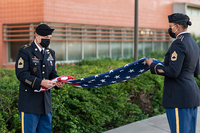 MSG Mark Beirich and SSG Carolyn Conkleton present the morning colors during TAMU-CC's Veterans Day Celebration Week.