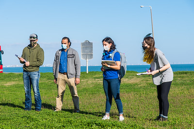 Dr. Mohamed Ahmed takes his geophysics class outdoors for a lab.