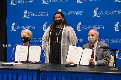 Makayla Rodriguez (center), a junior at Premont High School, is one of about 75 students who will benefit from dual enrollment at Texas A&M University-Corpus Christi and Premont ISD starting in fall 2021.