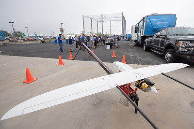 Lone Star UAS features a new netting structure that is dedicated to research and drone flight testing during their open house on Tuesday April 12, 2021.