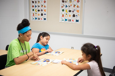 TAMU-CC Student, Maddie Woods, gives a tutoring session on literacy instruction.