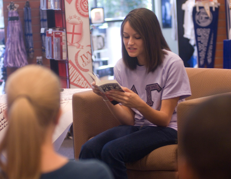 Robin Sypult reads Cujo as part of the Banned Books Out loud event held in the bookstore.