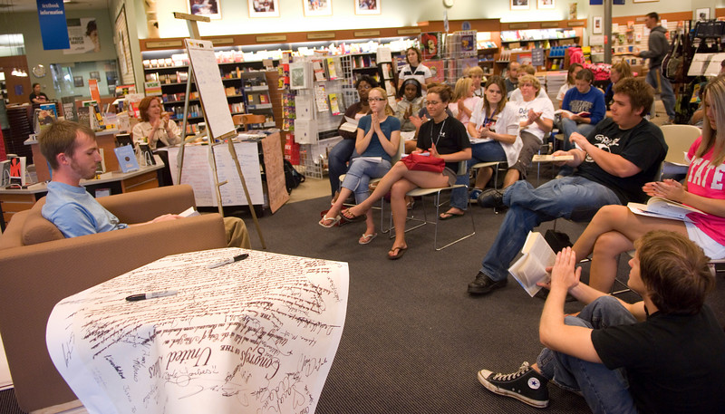 Colin Pizarek reads On The Road as part of the Banned Books Out loud event held in the bookstore.