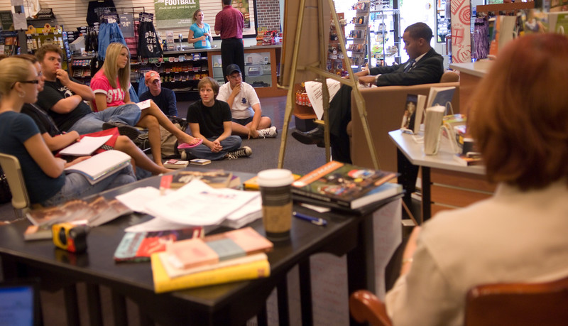 A. J. Patton reads the Bible as part of the Banned Books Out loud event hosted by the American Democracy Project.